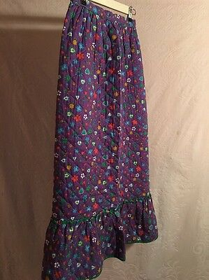 Vintage Sears Quilted Girls Skirt Purple W/ Hearts