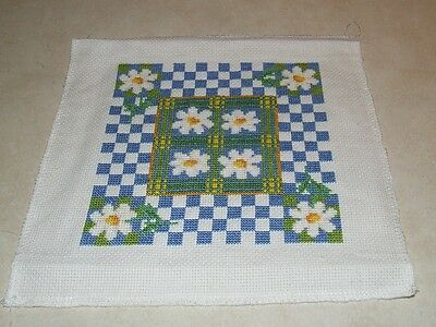 Completed Cross Stitch - White Daisys