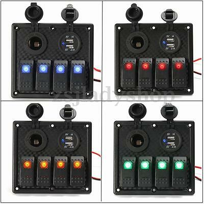 4 Gang LED Rocker Switch Panel Circuit USB Chargers Car RV Boat Marine
