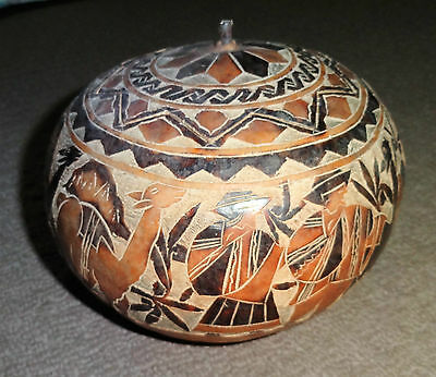 Rare Peruvian Hand Carved Story Gourd with Original Lid.