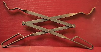 Vintage Fireplace Hearth Wrought Iron Log Scissor Tongs #01