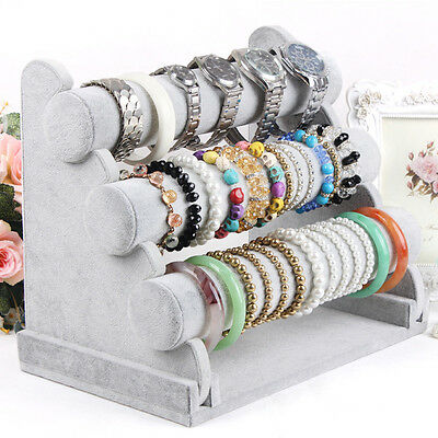 3-Tier Velvet Jewelry Bracelet Watch Bangle Display Holder Stand Showcase T-bar