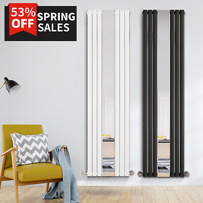 Designer Vertical Radiator Mirror Oval Column Panel White Anthracite 1800x500mm