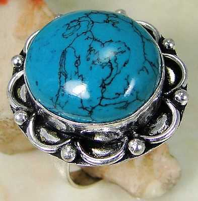 Turquoise & 925 Silver Handmade Stylish Ring Size P A21-8095