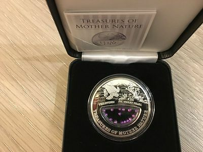 Treasures of Mother Nature Philippines Violet Pearl Silver coin Fiji 2014 $1
