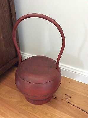 Antique Chinese Red Lacquer Wedding Basket