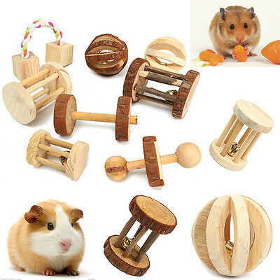 Natural Wooden Pet Rabbits Hamsters Rat Dumbell Unicycle Bell Roller Chew Toy