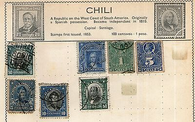 Chili Stamp Collection on Old Album Page - MH & Used