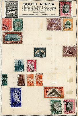 South Africa Stamp Collection on Old Album Page -  MH & Used