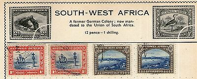 South-West Africa Stamp Collection on Old Album Page -  Used