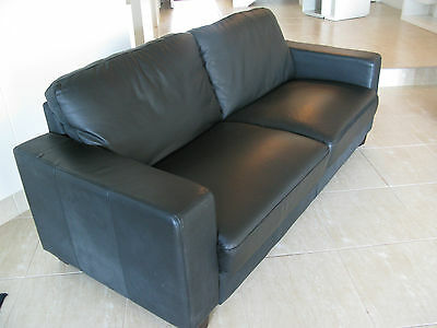 large 2 seater black leather lounge