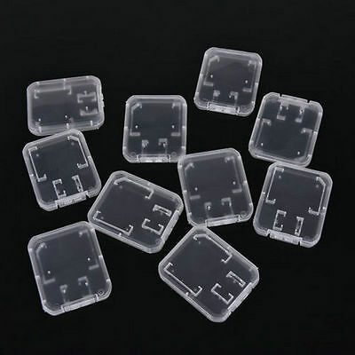 10PCS Transparent Plastic Standard SD SDHC Memory Card Case Holder Box Storage