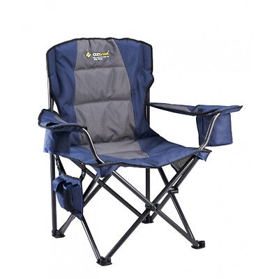 NEW Oztrail  Big Boy Arm Chair - in Black - Camping Chairs & Beds
