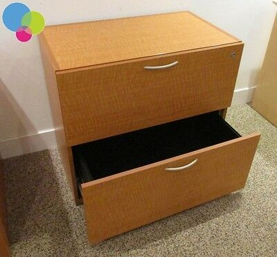 Cherry Executive Lateral Filing Cabinet Unit 2 Drawers Storage Office Home