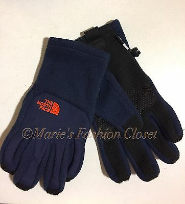 "NWT Sz L Youth Boys The North Face ""Denali"" E-tip Etip Fleece Gloves Cosmic Blue"