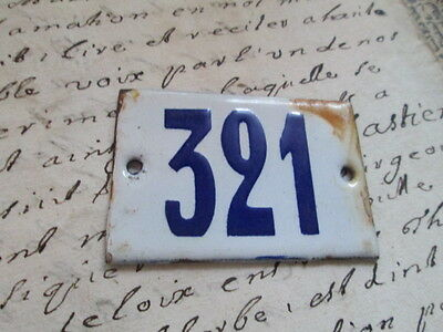 "Antique French Enamel Metal Door House -Gate Number Sign white& blue ""321"""