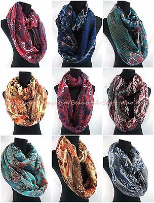 US SELLER-lot of 5 Infinity Scarves Wholesale vintage bohemian infinity scarf