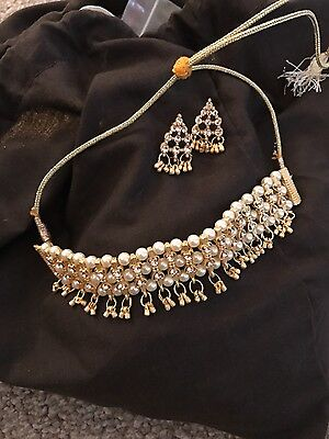 Exclusive Choker White Necklace Earring Indian Bridal Royal Jewellery Pearl Sets
