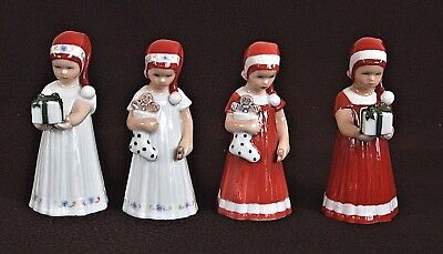 Royal Copenhagen 4 X Statuine In Porcellana Elsa Natalizia Red E White