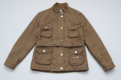 Girls Zara Kids Jacket Slightly Padded Belted Brown Size 11-12 Years 152 Cm Vgc