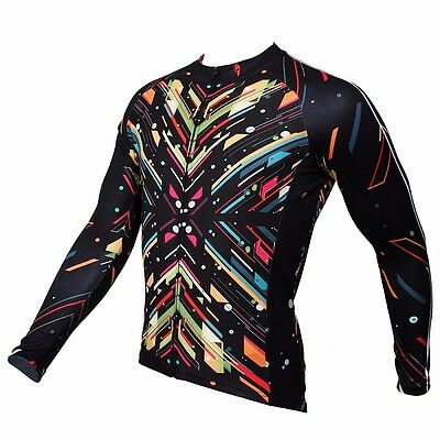 MTB Mens Breeze Long Sleeve Breathable Cycling Top Sports Running Jersey Gym