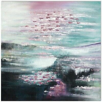 Manor Heart Hand Painted Canvas Wall Art Green Black Pink Abstract Oil Painting