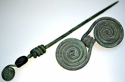 Viking Bronze Spiral Brooch Fibula & Bronze Spiral Hear Pin with Stone Set