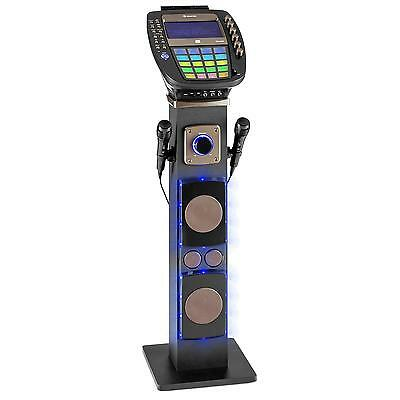 Auna Karaoke Player Music Speaker Home Audio Cd Usb Av Led Disco 2 Microphones