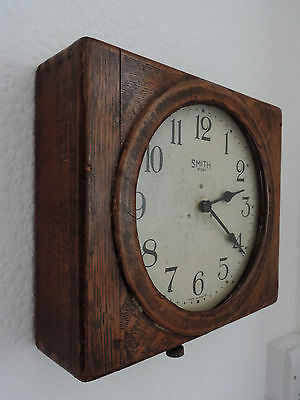 Beautiful Old Vintage Smiths 8 Day Oak Hanging Railway/School Clock  SUPER RARE