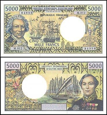 French Pacific 5,000 (5000) Francs, 1996, P-3g, UNC