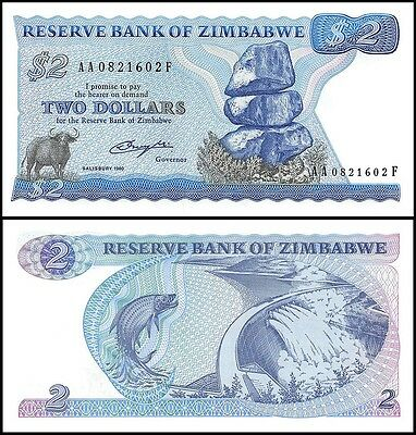 Zimbabwe 2 Dollars Currency, 1980, P-1a, UNC