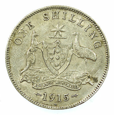 Australia, George V Shilling, Silver, Rare Low Mintage, 1915 H