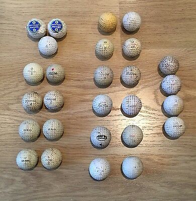 27 Vintage Golf Balls - some wrapped