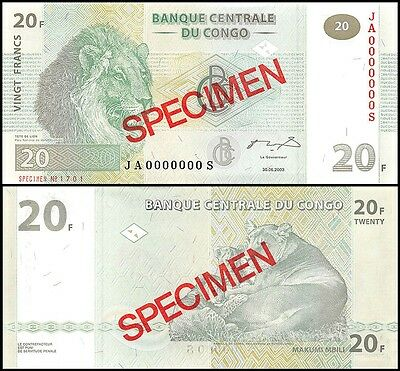 Congo Democratic Republic 20 Francs, 2003, P-94s, UNC, SPECIMEN