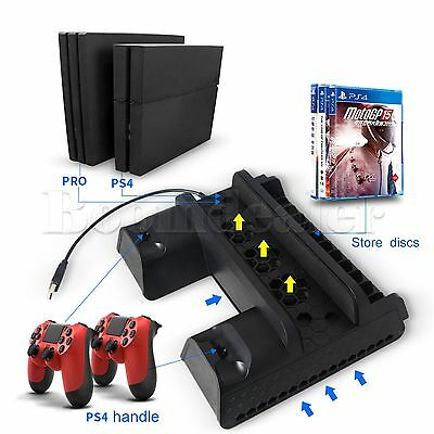5V PS4 Vertical Stand Dual USB Charger Cooling Fan Dock Hub for PS4 Slim PS4 Pro