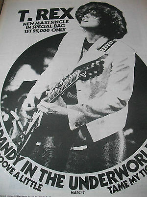 """T.rex """"dandy In The Underworld"""" Single Advert From 1977 Marc Bolan A3 Full Page"""