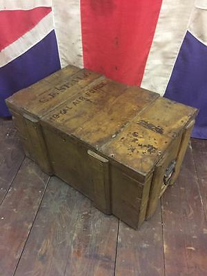 Antique 1920S Pine Royal Air Force Trunk Box Chest Toys Oak Cupboard Cabinet