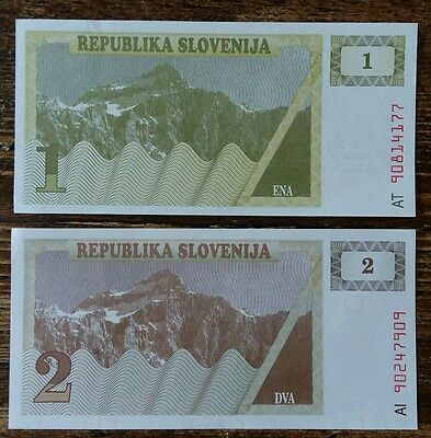 Set Of 2 Banknotes From Slovenia Unc Serie A