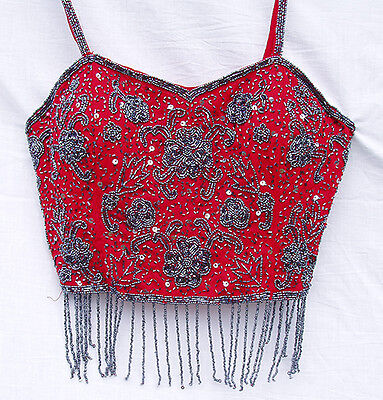 Red with Pewter Beads Bollywood Belly Dance Crop Top