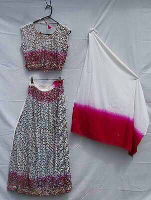 White, Pink & Blue Sequined Bollywood Costume, including Top, Skirt & Shawl