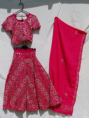 Pink & Silver Beaded Bollywood Costume, including Top, Skirt & Shawl