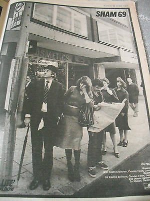 """SHAM 69 """"THATS LIFE"""" ALBUM & TOUR ADVERT FROM 1978 Bus stop A3"""