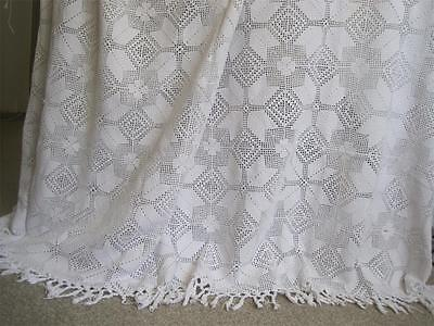 Vintage French Bed Cover, Hand Crochet White Cotton, A Lovely Bedspread