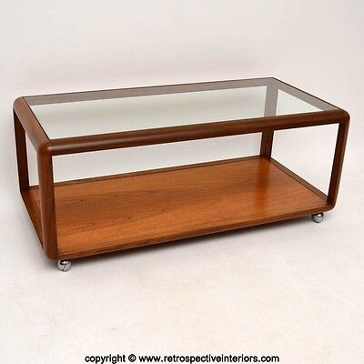 RETRO TEAK & GLASS COFFEE TABLE VINTAGE 1960's
