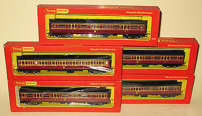 Triang Hornby 2x R748 & 3x R747 LMS Maroon Coaches MINT BOXED SUPERB RAKE OF 5