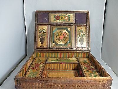 ANTIQUE FRENCH c1800's,Hand Made POW STRAW SEWING box, Great detail-NO RESERVE