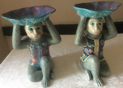 Chinese Monkey Stands A Pair Old