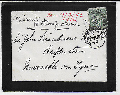 NORTHUMBERLAND - MISSENT TO STAMFORDHAM (nr NEWCASTLE) on cover from France