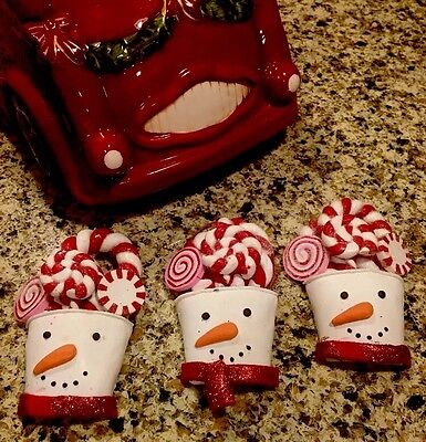 Peppermint Candy SNOWMAN Ornaments CANDY THEME Peppermint Swirl Tree Decor Set 3