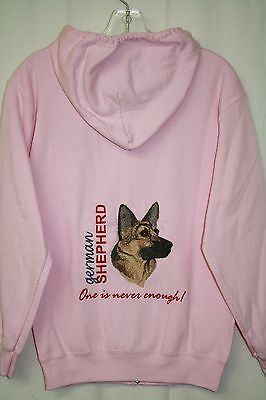 German Shepherd Embroidered On a Small Pink Zippered Hooded Sweatshirt